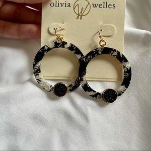 Olivia Welles Black Stone Hoop Earrings